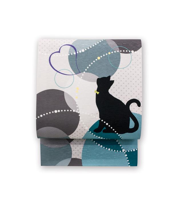 シンプルな猫のシルエットが美しい帯